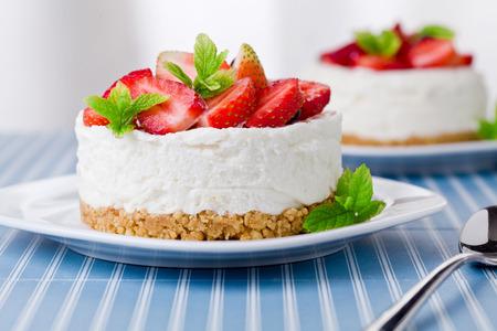 strawberry cake: Close up of a homemade cheesecake