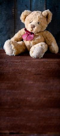 juguetes de madera: Cierre de la fotografía de un oso de peluche lindo