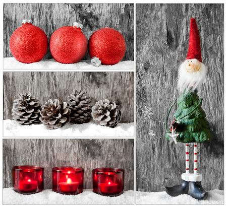 Collage of some lovely and colorful christmas baubles