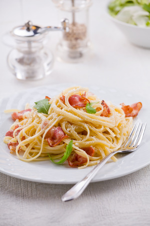 queso rallado: Plate of carbonara pasta with bacon and grated cheese Foto de archivo