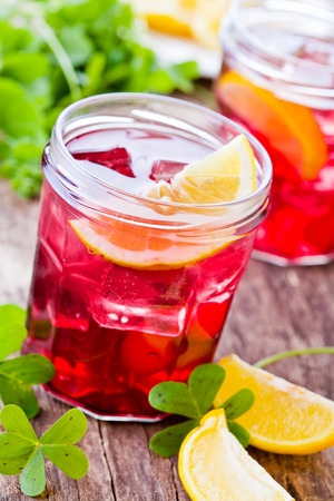 cranberry juice: Fresh homemade cranberry juice with some lemon