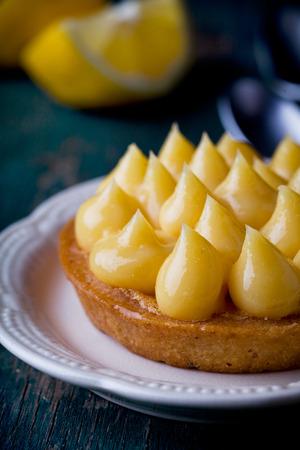 pie de limon: Cerca de un pastel de limón casera sabrosa