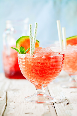 Cups of refreshing homemade watermelon granita with mint