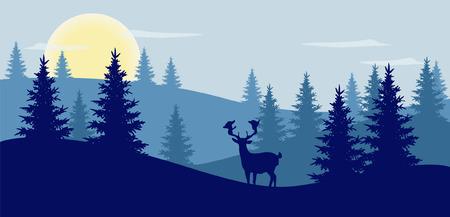 Simple illustration of a colorful mountain landscape  Illustration