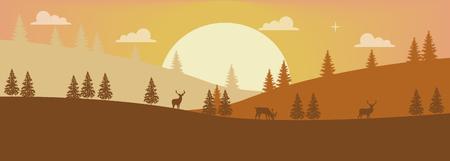 Einfache Darstellung einer bunten Berglandschaft Illustration