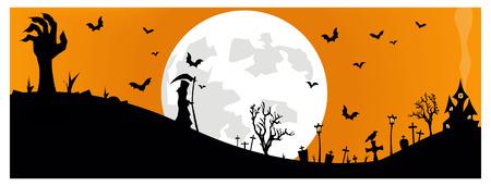 Simple illustration of a creepy halloween cemetery