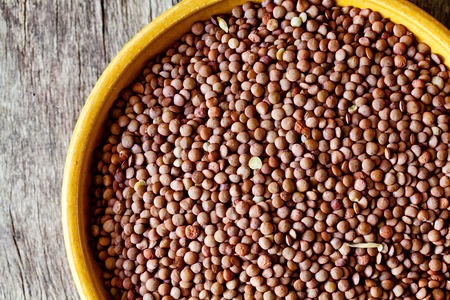 Close up of some organic brown lentils