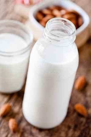 Close up of some refreshing almond milk Stock Photo