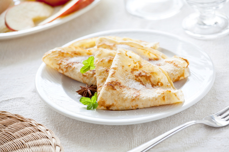 Bunch of homemade french crepes with sugar Stockfoto