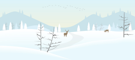 Vector illustration of a snowy winter landscape