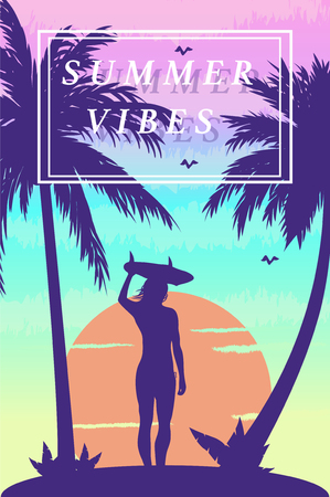Vector Illustration of a tropical island sunset