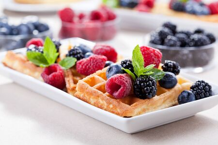 Close up of a couple of waffles with berry fruits 版權商用圖片