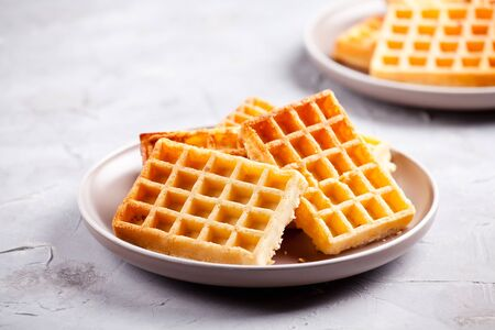 Plate of a bunch of homemade waffles 版權商用圖片