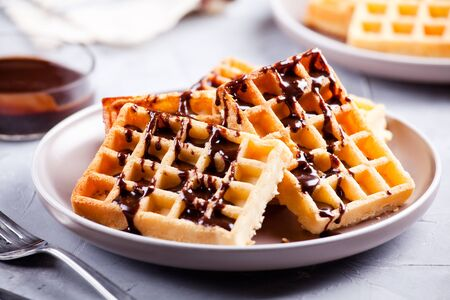 Plate of a bunch of homemade waffles Banque d'images