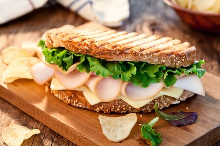 Homemade Toasted Ham And Cheese Sandwich With Chips