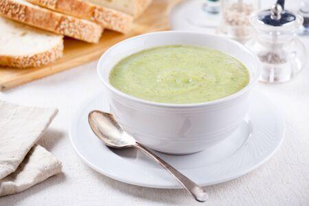 Bowl of homemade soup with organic broccoli