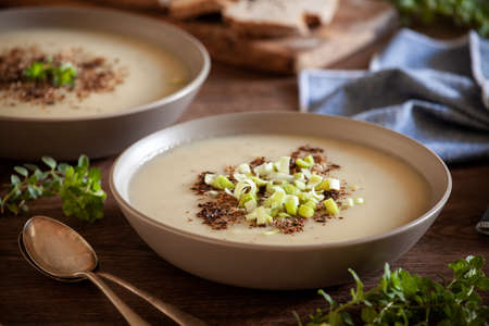 Bowls of homemade leek and potato soup