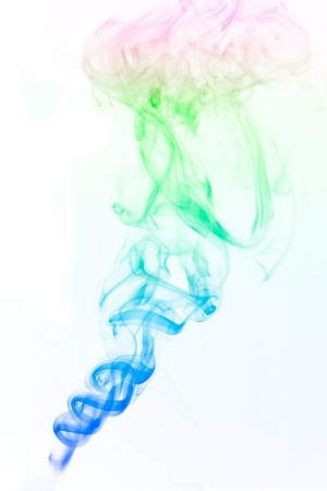 Colorful smoke drifting upward on a white background Stock fotó - 7519882