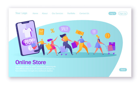 Concept of landing page on shopping theme. Vector illustration for mobile website design. Five happy, flat people running with shopping bags and trucks.