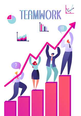 Vector business illustration. Teamwork concept. Business teamwork. Four people characters holding graph arrow Flat design.