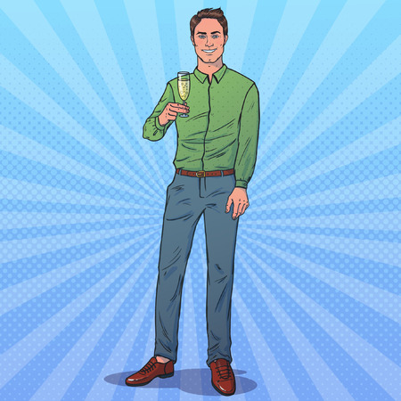 Man with a glass of champagne. Looks at us and smiling. Full height. Vector illustration in pop art style. New Year theme.