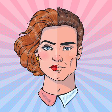 Dos mitades de un todo. Rostro de hombre y mujer. Diferencias de género. Ilustración de vector de estilo pop art.