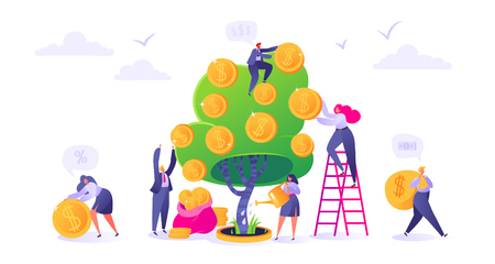 Makin money business investment with flat people characters. Woman watering money coins Money profit, income concept, growth capital.
