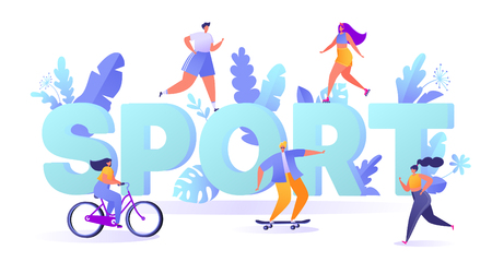 Concept of sport motivation. Summer outdoor sports activities. People running, roller, fitness, skateboarding, bicycling. Characters doing workout outside. Flat, cartoon, trendy, vector illustration.