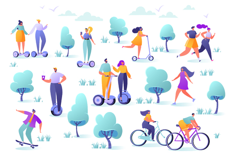Active people in the park. Summer outdoor. Man and woman characters running, riding bicycle, skateboarding, roller skates, fitness. Flat design characters riding modern electric scooter, hoverboard.