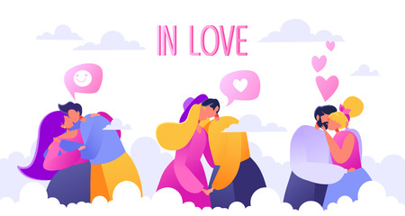 Romantic vector illustration on love story theme. Heaven. Soaring in the clouds. Couples in love, they embrace and kiss. Concept on Valentine's Day theme.