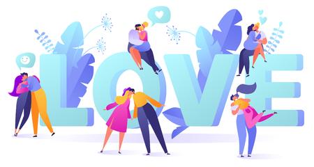 Ilustración de vector romántico sobre el tema de la historia de amor. Carácter de gente plana feliz. Parejas enamoradas, se abrazan y besan. Feliz amante hombre y mujer coquetean. Concepto de estilo de vida sobre el tema del día de San Valentín.