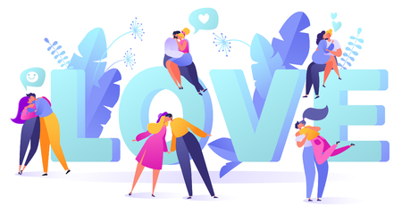 Romantic vector illustration on love story theme. Happy flat people character. Couples in love, they embrace and kiss. Happy lover man and woman flirt. Lifestyle concept on Valentine's Day theme.