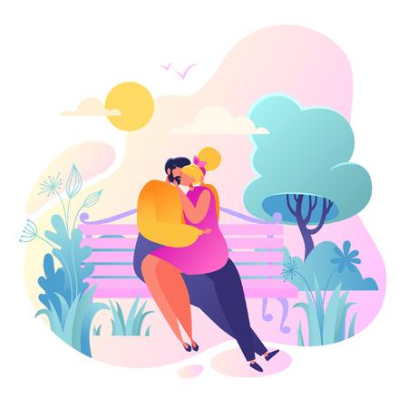 Ilustración de vector romántico sobre el tema de la historia de amor. Carácter de gente plana feliz. Pareja de enamorados, se abrazan y se besan. Feliz amante hombre y mujer coquetean. Concepto de estilo de vida sobre el tema del día de San Valentín.