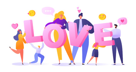 Romantic vector illustration on love story theme. Happy flat people character holding large letters LOVE. Lifestyle concept on Valentine's Day theme.