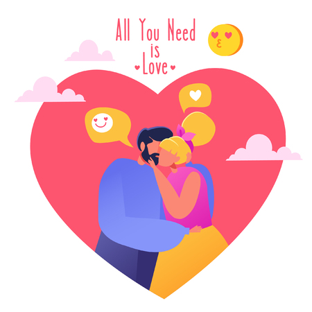 Romantic vector illustration on love story theme. Happy flat people character. Couple in love, they embrace and kiss. Lifestyle concept on Valentine's Day theme. Valentine's Day ?ard.