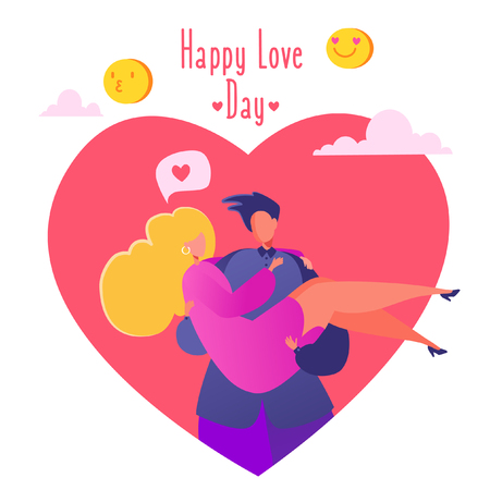 Romantic vector illustration on love story theme. Couple in love, man holding his beloved girlfriend in his arms, carries on hands. Lifestyle concept on Valentine's Day theme. Valentine's Day ?ard.