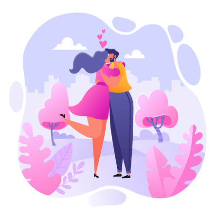Romantic vector illustration on love story theme. Happy flat people character embrace and kiss. Happy lover man and woman flirt. Lifestyle concept on Valentine's Day theme.