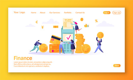 Concept of landing page on finance theme. Concept of online banking, money transaction technology. Credit card and payment terminal. Business people pay coins cash.Flat People Characters Making Money.