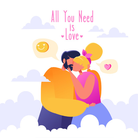 Romantic vector illustration on love story theme. Heaven. Soaring in the clouds. Couples in love, they embrace and kiss. Concept on Valentines Day theme. Çizim