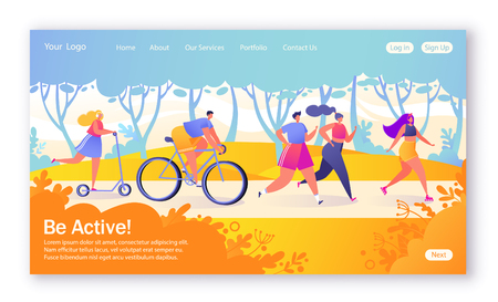 Concept of landing page on healthy lifestyle theme. Active people sports. Happy characters riding bicycle, coupler, woman on pushscooter. Healthy lifestyle concept for mobilewebsite, web page.