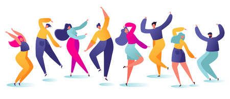 Set of young happy dancing people. Party dancer character male and female isolated on white background. Young men and women enjoying a dance party. Colorful vector illustration.