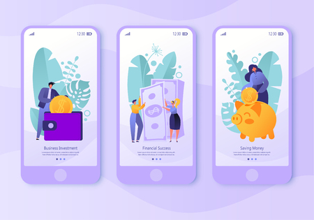 Mobile app page, screen set. Concept for website and business theme finance. Concept of making money, saving money and financial success. Flat people, business characters collecting coins.  イラスト・ベクター素材