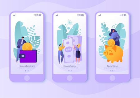 Pagina dell'app per dispositivi mobili, set di schermate. Concetto per il sito Web e la finanza a tema aziendale. Concetto di fare soldi, risparmiare denaro e successo finanziario. Persone piatte, personaggi d'affari che raccolgono monete.