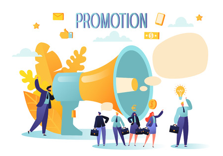 Concept of advertisement, marketing, promotion. Loudspeaker talking to the crowd. Promoter speaks in big megaphone and listen to the announcement.