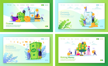 Set of concept of landing pages on finance theme. Flat people, business characters making money. Saving money, online banking, mobile banking, web page.