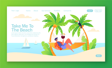 Holiday theme vacation page. A man character resting in his hand, between two palm trees. Vector illustration for mobile website 向量圖像