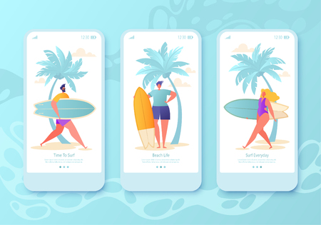 Mobile app page, screen set. Concept for website with flat happy surfers. They are going to catch a wave and enjoy surfing. Surfing concept for website or web page. Colorful vector illustration.