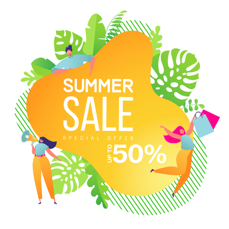 Summer sale banner template. Summer abstract geometric background. Tropical backdrop. Promo badge for your seasonal design. Vector illustration.