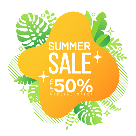 Summer sale banner template. Liquid, geometric, shape, background with tropic fluid bubble and leaves. Tropical backdrop. Promo badge for your seasonal design. Vector illustration.