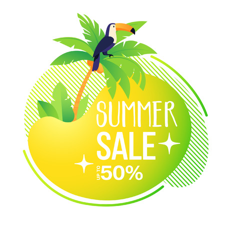 Summer sale banner template. Summer abstract, fluid, background, toucan. Tropical backdrop, card, brochure, promo badge for your seasonal design. Trendy vector illustration.